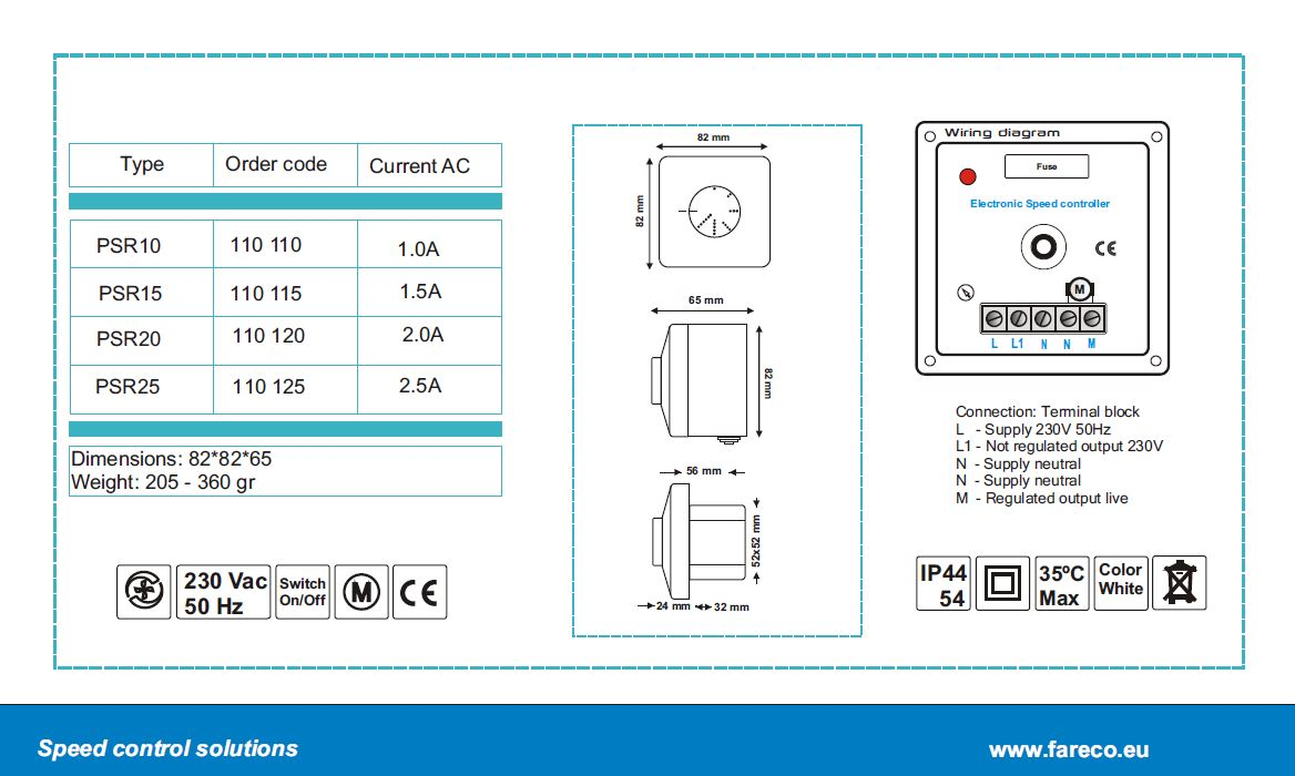 PSR series diagram - electronic speed controllers